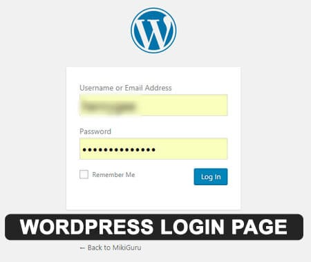 WordPress Login URL-log in